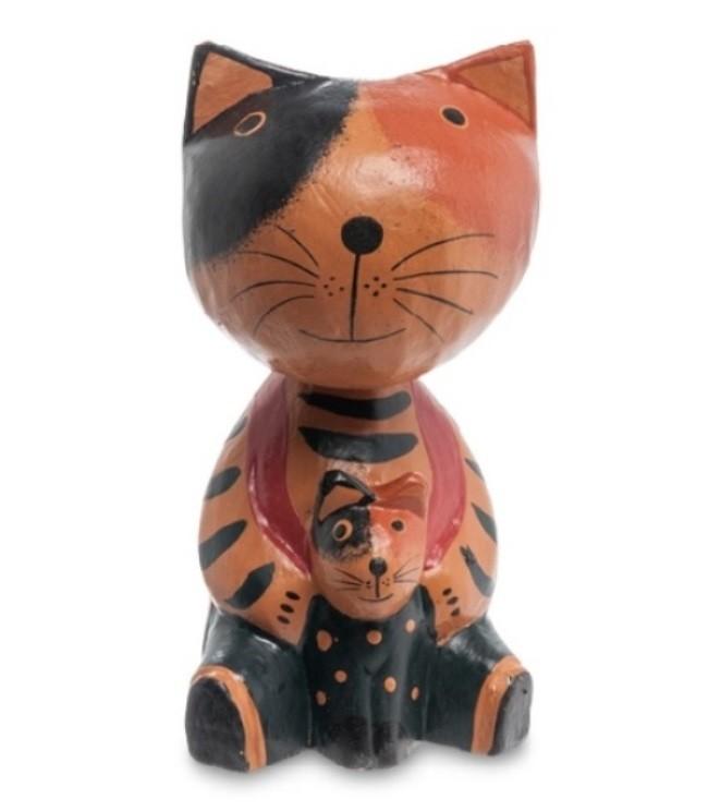Статуэтка кошка с котенком из дерева купить